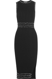 Samurai tasseled ribbed stretch-knit dress