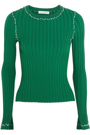 Arrosa embroidered ribbed-knit sweater