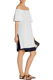 Off-the-shoulder pleated poplin tunic