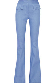 Adam Lippes Stretch-cotton chambray flared pants