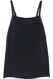 Adam Lippes Satin-trimmed crepe tank