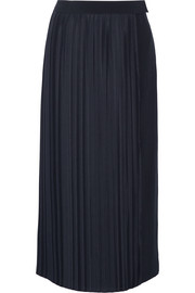 Adam Lippes Plissé-satin and crepe wrap skirt