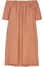 Adam Lippes Off-the-shoulder pleated georgette tunic