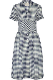Gingham cotton-blend gauze midi dress