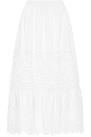 SEA Broderie anglaise-paneled cotton and linen-blend maxi skirt