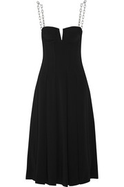Chain-trimmed crepe dress