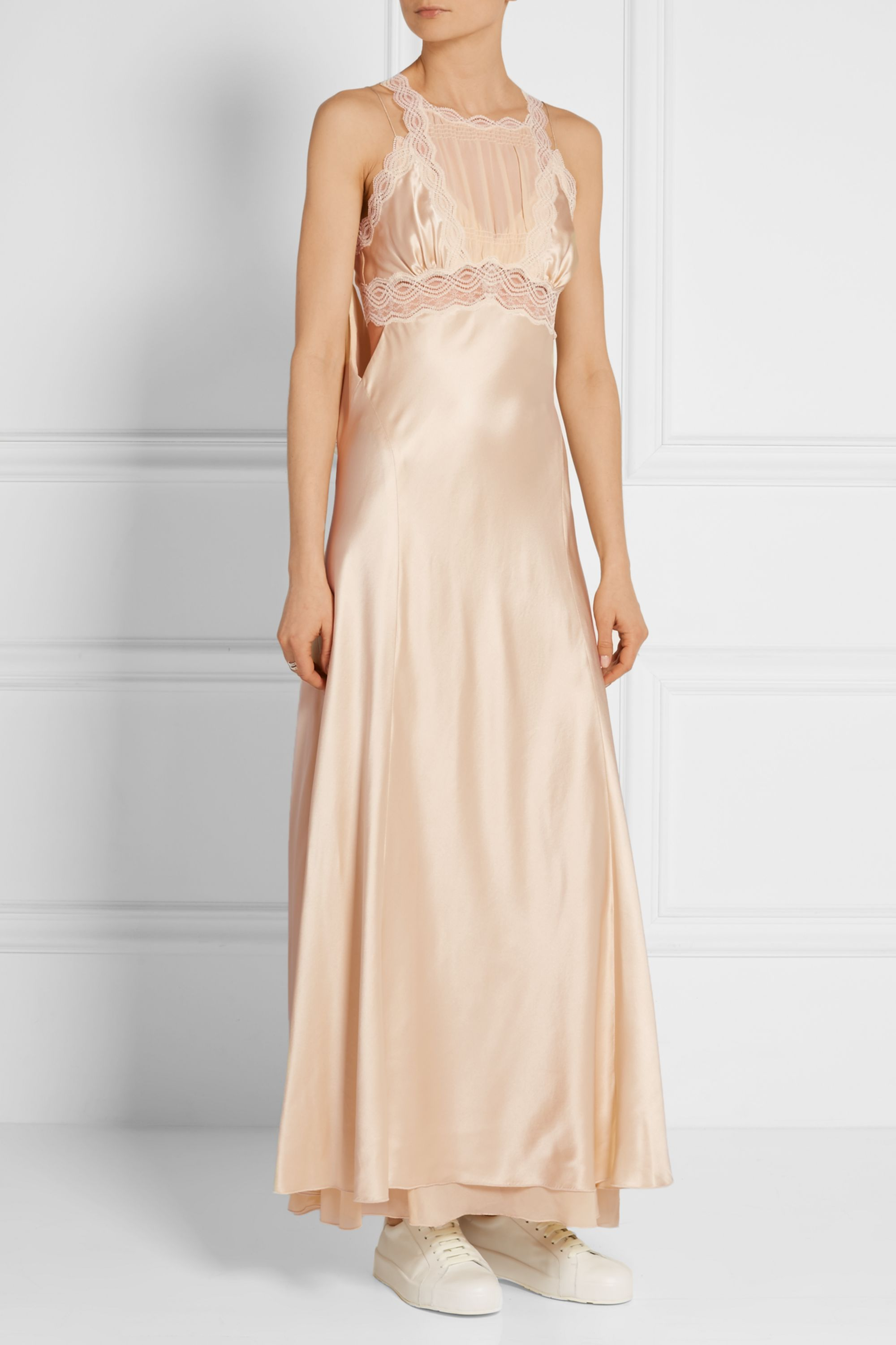 Alexander Wang Lace and georgette-paneled silk-satin maxi dress