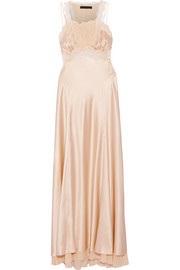 Lace and georgette-paneled silk-satin maxi dress
