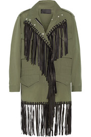 Leather-fringed cotton-twill jacket