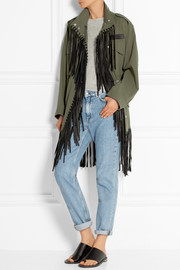 Alexander Wang Leather-fringed cotton-twill jacket