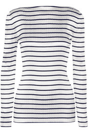 Striped plissé-satin top