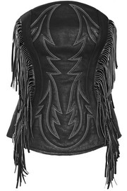 Fringed embroidered pebbled-leather bustier top