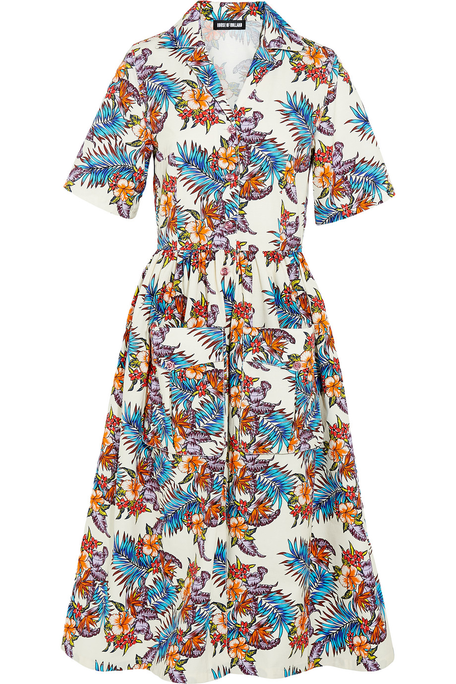 Printed Slub Cotton Midi Dress, House of Holland, Cream/Blue, Women's, Size: 8