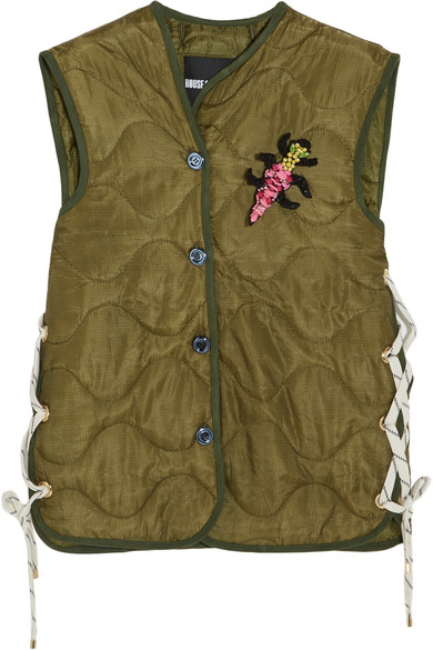 House of Holland - Embellished Padded Shell Gilet - Army green