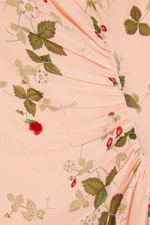 Topshop Unique Hortensia gathered printed silk dress