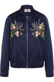 Ebury embroidered satin bomber jacket