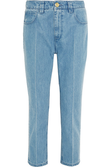 Topshop Unique - Draycott Cropped High-rise Skinny Jeans - Mid denim