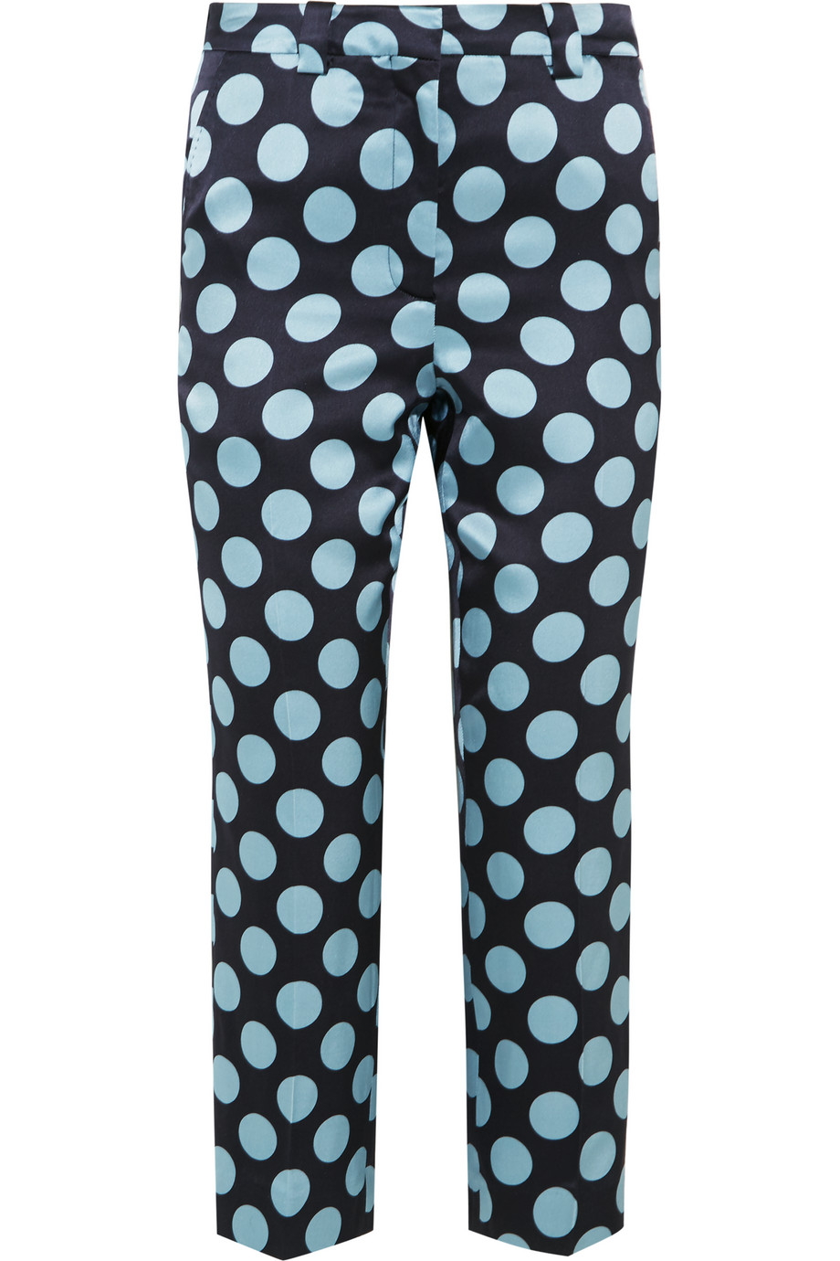Topshop Unique Elystan Printed Silk-Satin Straight-Leg Pants, Sky Blue, Women's, Size: 8