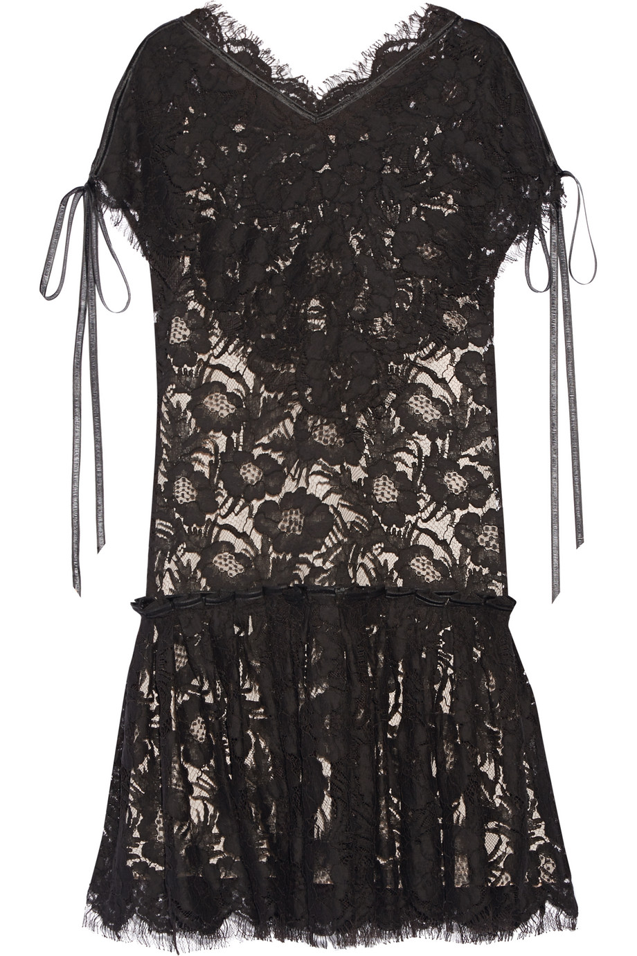 Wes Gordon Beatrix Corded Cotton-Blend Lace Mini Dress, Black, Women's - Floral, Size: 2