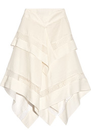 Asymmetric lace-trimmed silk and wool-blend gauze skirt