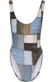 Marissa printed patchwork denim-effect swimsuit