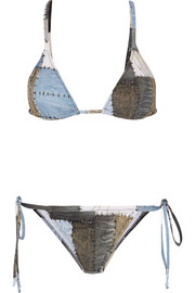 Printed patchwork denim-effect triangle bikini