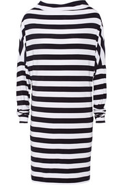Norma Kamali Convertible striped stretch-jersey dress