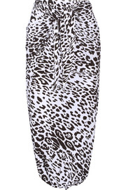Diaper leopard-print stretch-jersey skirt