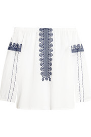 Folktale off-the-shoulder embroidered cotton-poplin top