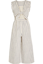 Tie-front cutout linen and cotton-blend jumpsuit