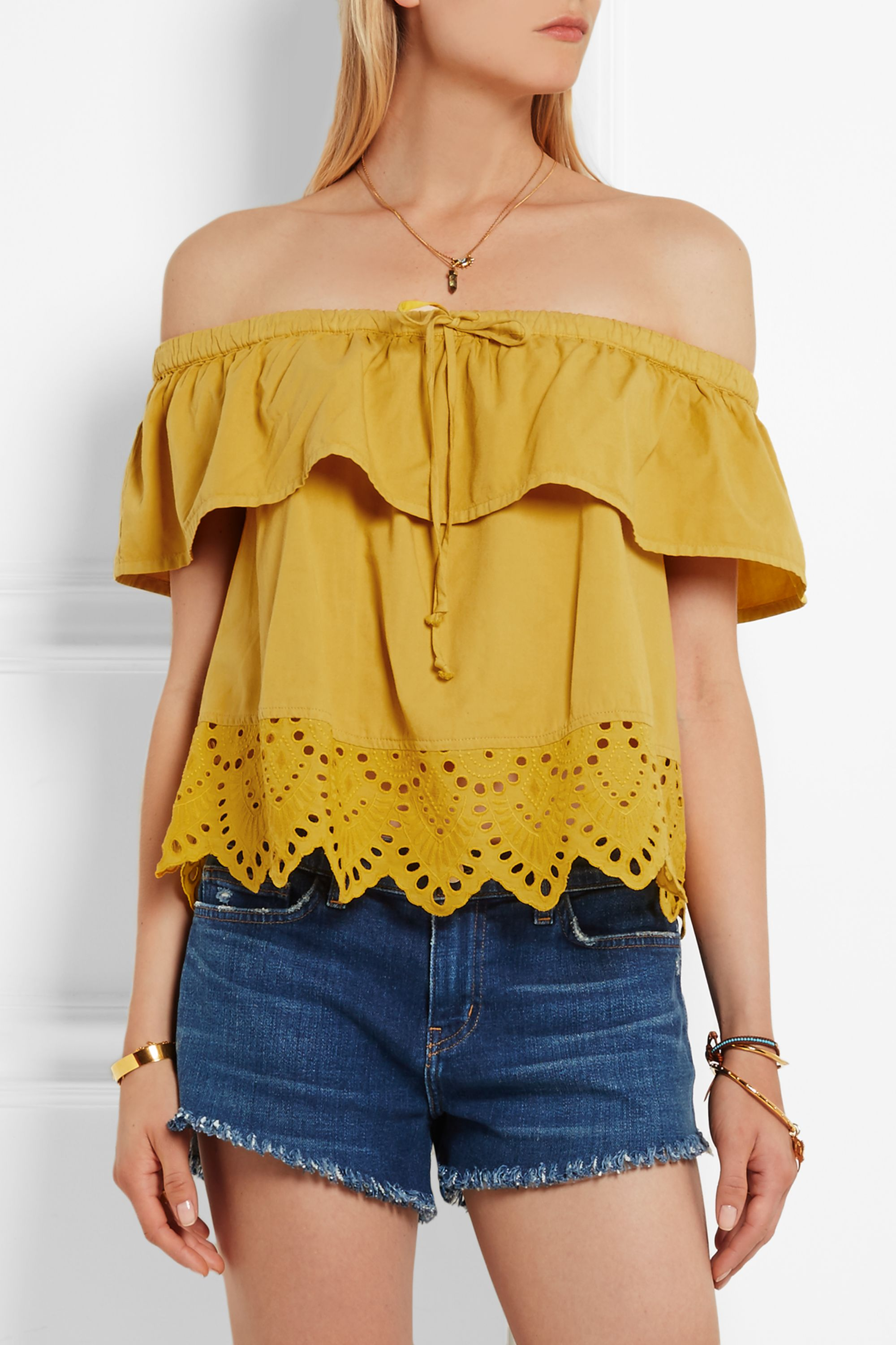 Madewell Off-the-shoulder broderie anglaise cotton-blend top