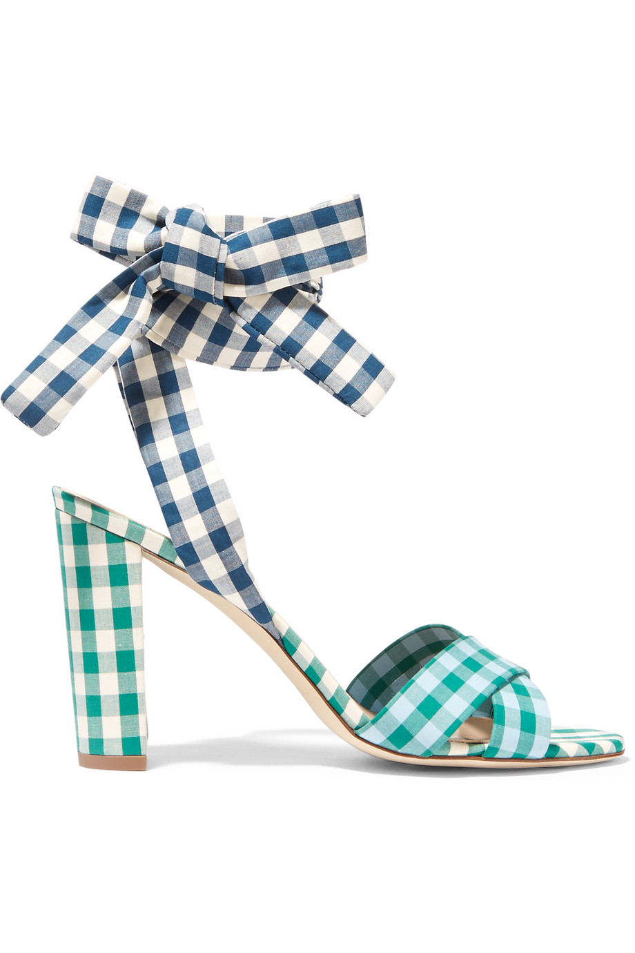 J.Crew Charlotte Gingham Poplin Sandals, Blue, Women's, Size: 6