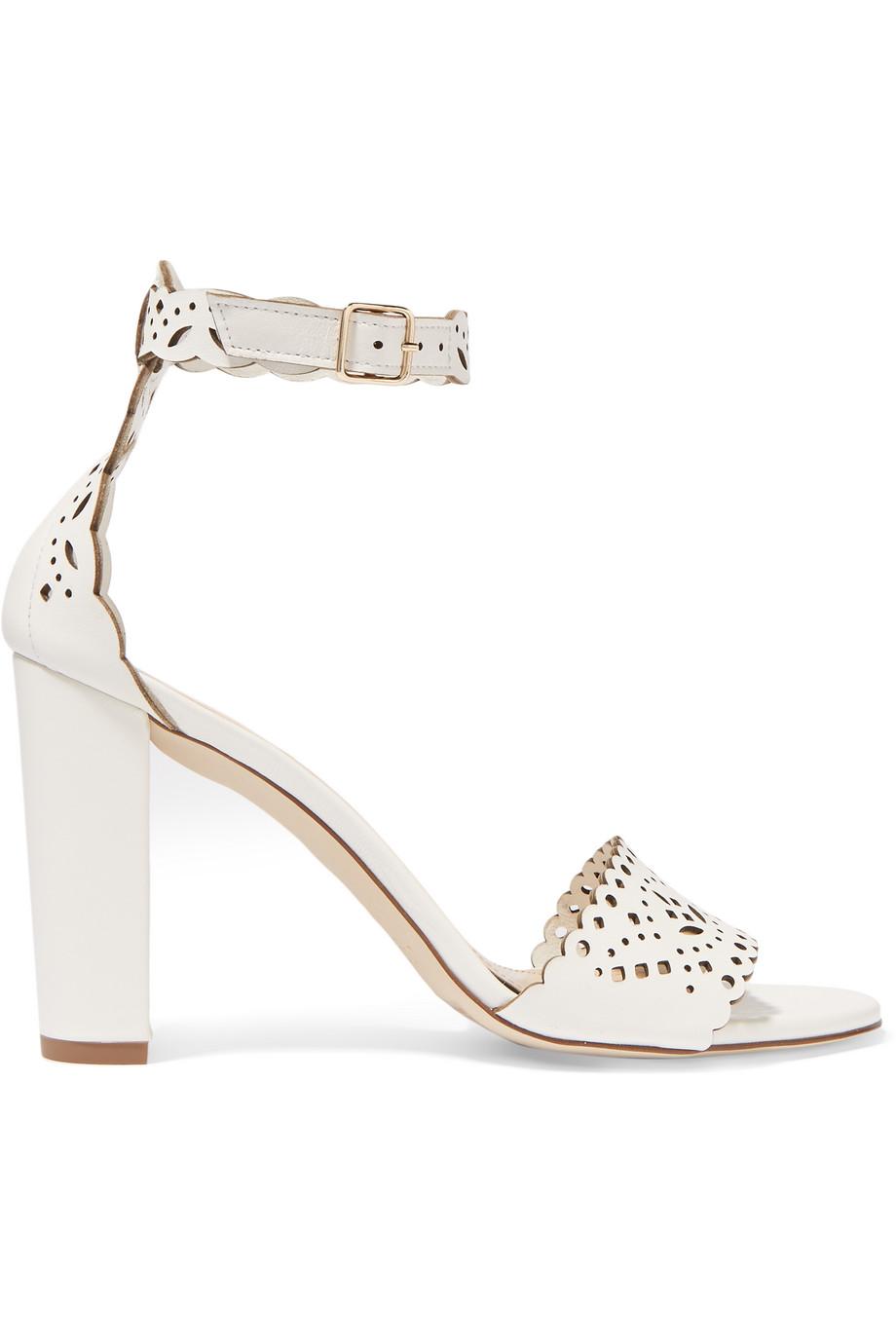 J.Crew Charlotte Laser-Cut Leather Sandals, White, Women's, Size: 5.5