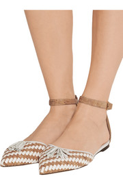 J.Crew Macklin tassel-trimmed cork and leather point-toe flats