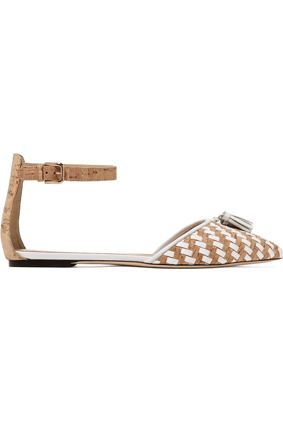 J.Crew Macklin Tassel-Trimmed Cork and Leather Point-Toe Flats, White/Neutral, Women's, Size: 8