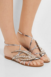 Miu Miu Swarovski crystal-embellished glittered metallic leather sandals