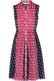 Nieves printed faille and chiffon dress