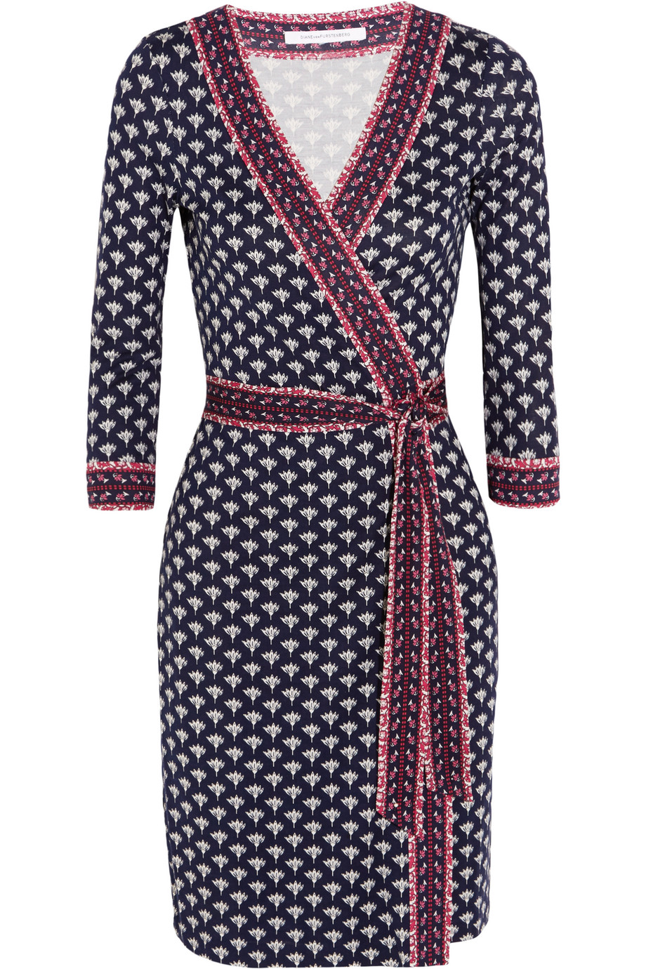Diane Von Furstenberg Julian Printed Silk-Jersey Wrap Dress, Midnight Blue/Fuchsia, Women's - Printed, Size: 14