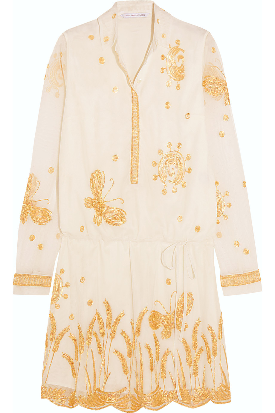 Diane Von Furstenberg Delphina Embroidered Tulle Mini Dress, White/Gold, Women's - Embroidered, Size: 6