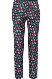 Leni printed silk-twill tapered pants