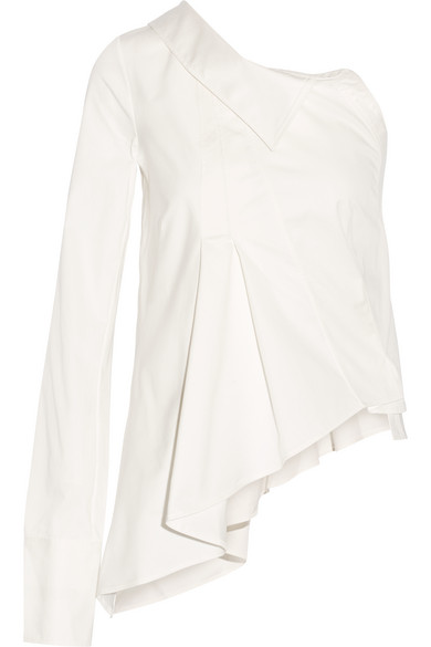 Monse - One-shoulder Stretch-cotton Twill Shirt - White