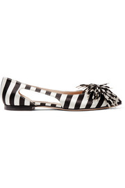 + Mariela Montiel striped duchese-satin point-toe flats