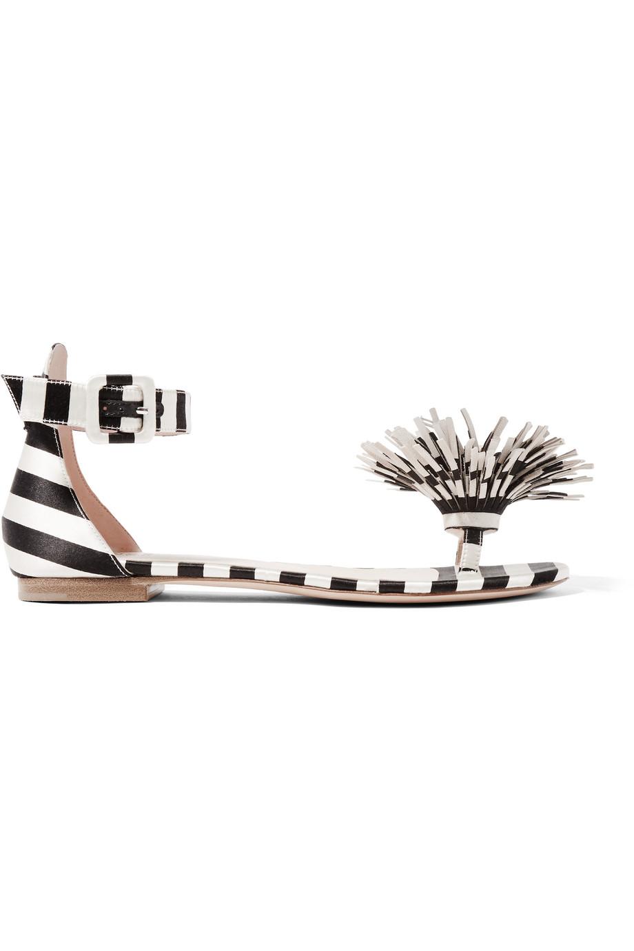 + Mariela Montiel Striped Duchesse-Satin Sandals, Black/Cream, Women's US Size: 3.5, Size: 34