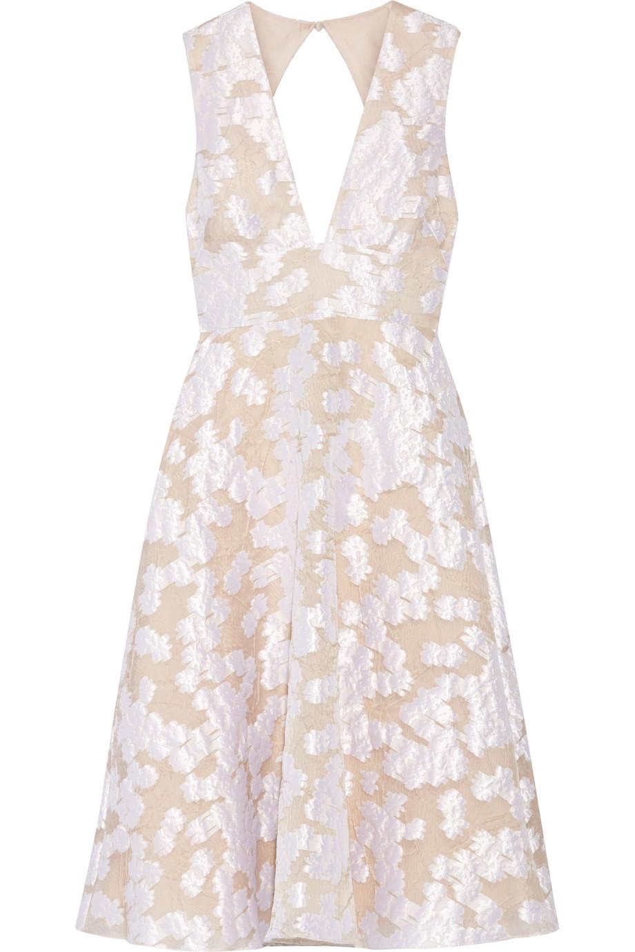 Lela Rose Open-Back Fil Coupé Dress, Ivory, Women's, Size: 14