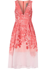 Floral organza-jacquard dress
