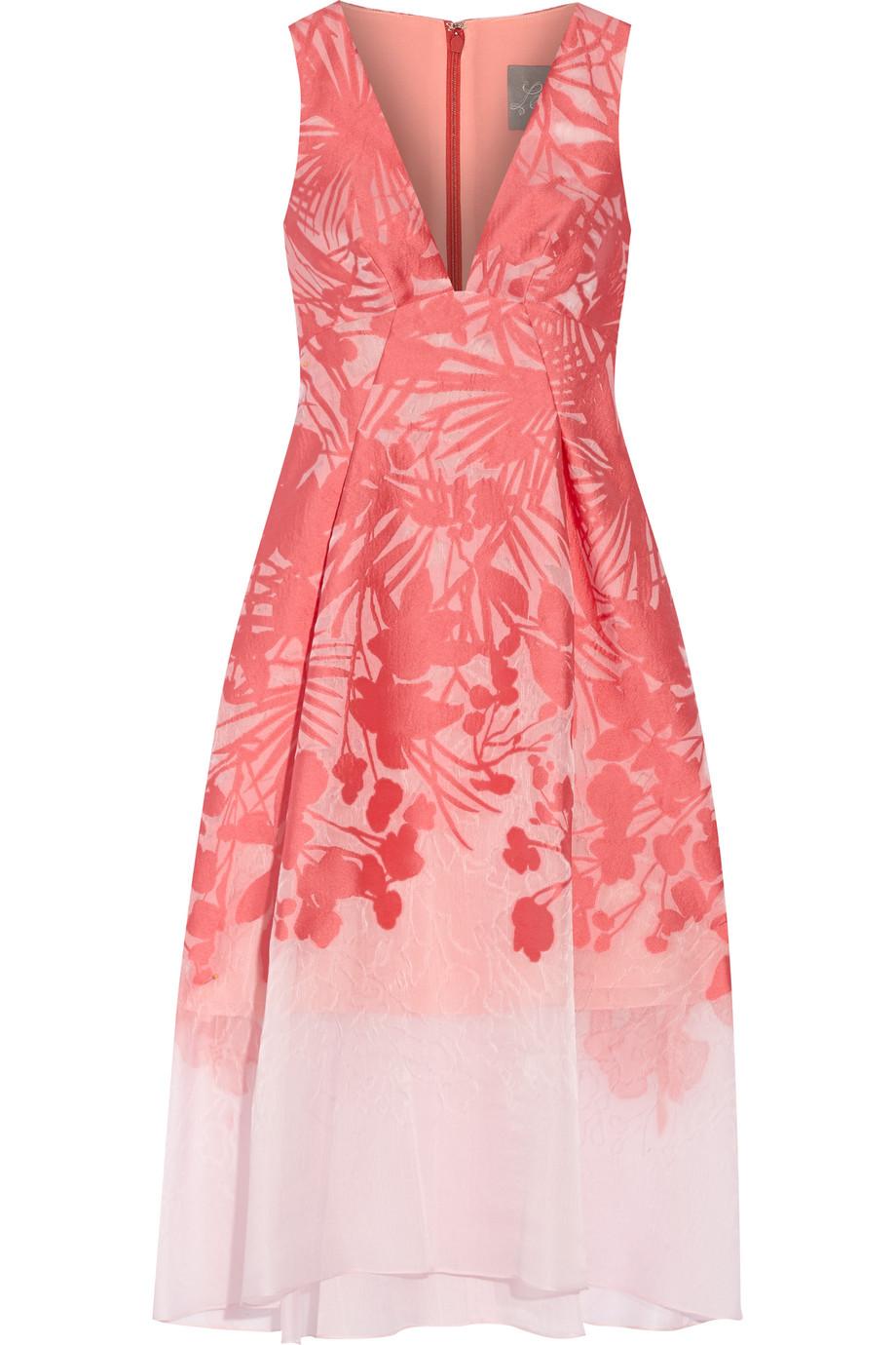 Lela Rose Floral Organza-Jacquard Dress, Coral/Blush, Women's, Size: 14