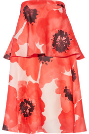 Tiered floral-print silk-gazar dress