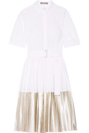 Metallic jacquard-trimmed pleated stretch-cotton poplin dress