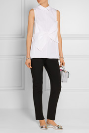Lela Rose Bow-embellished cotton-blend poplin top