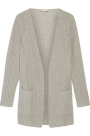 Ribbed cashmere and linen-blend cardigan
